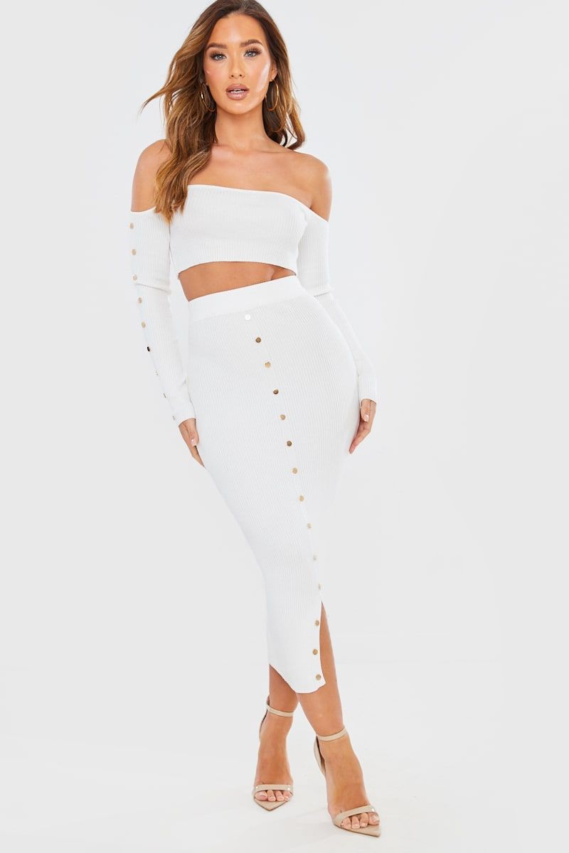 CREAM RIBBED BARDOT BUTTON CROP TOP AND MIDI SKIRT CO-ORD