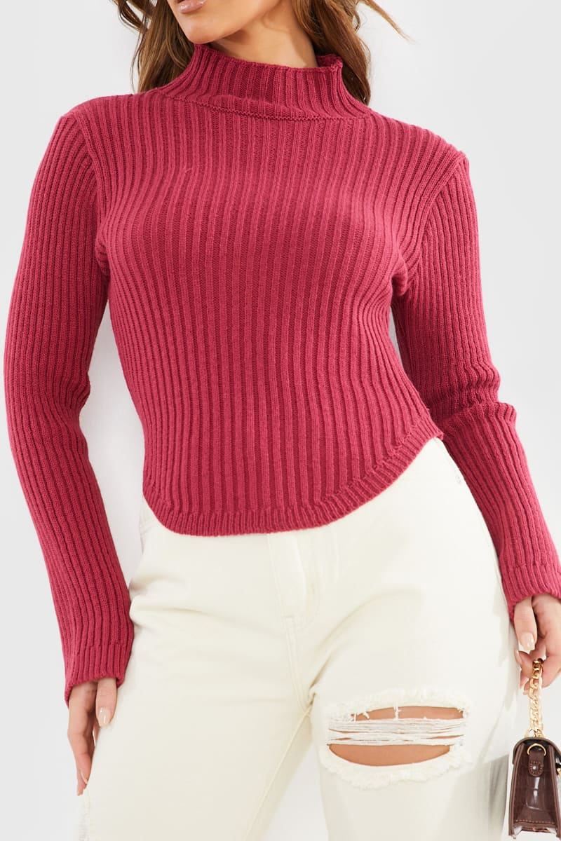 RASPBERRY HIGH NECK CURVED HEM CROPPED JUMPER
