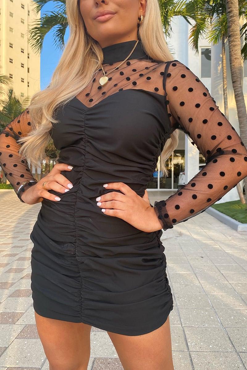 SAFFRON BARKER BLACK RUCHED MESH INSERT DRESS