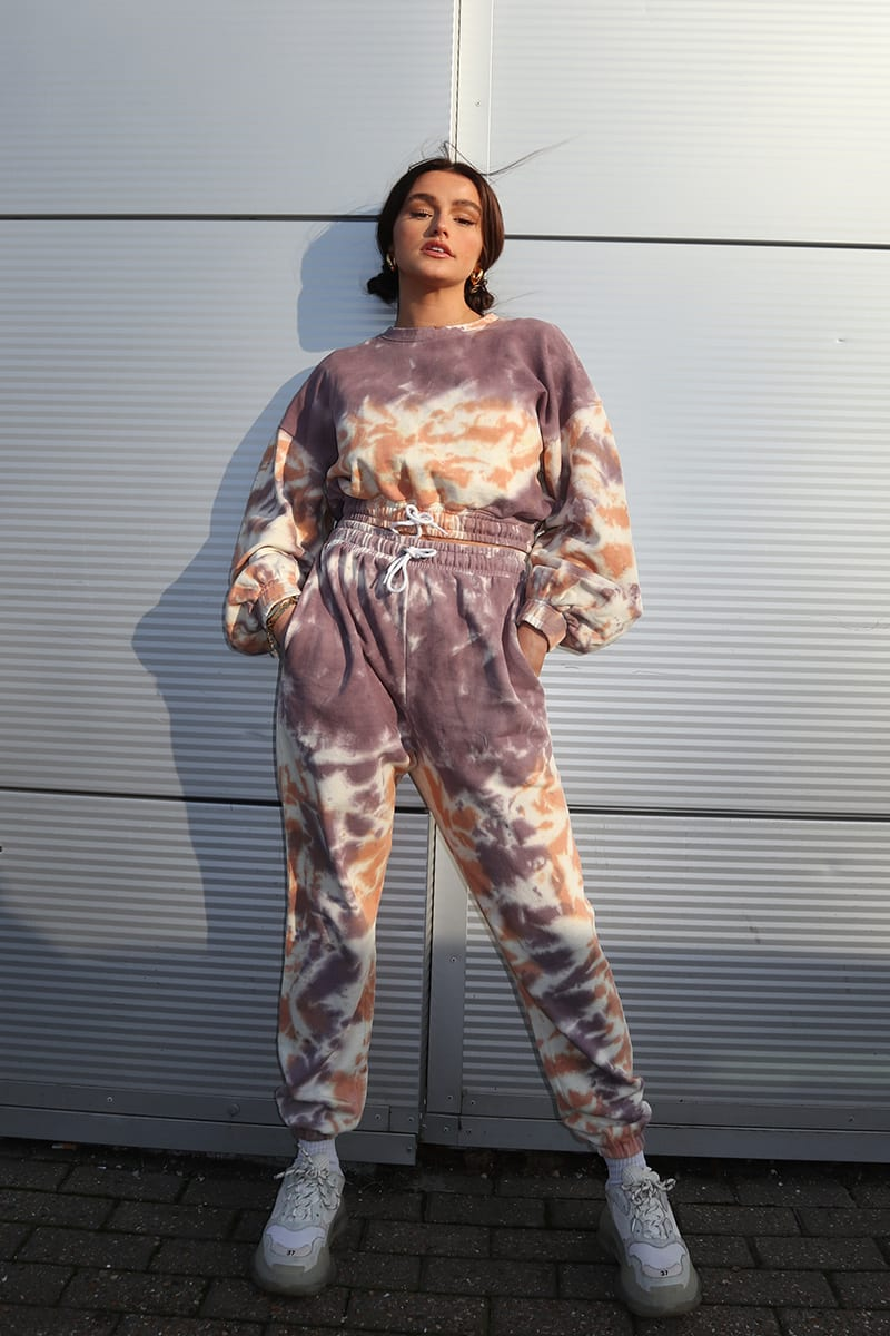 SYD AND ELL MAUVE TIE DYE DRAWCORD JOGGERS