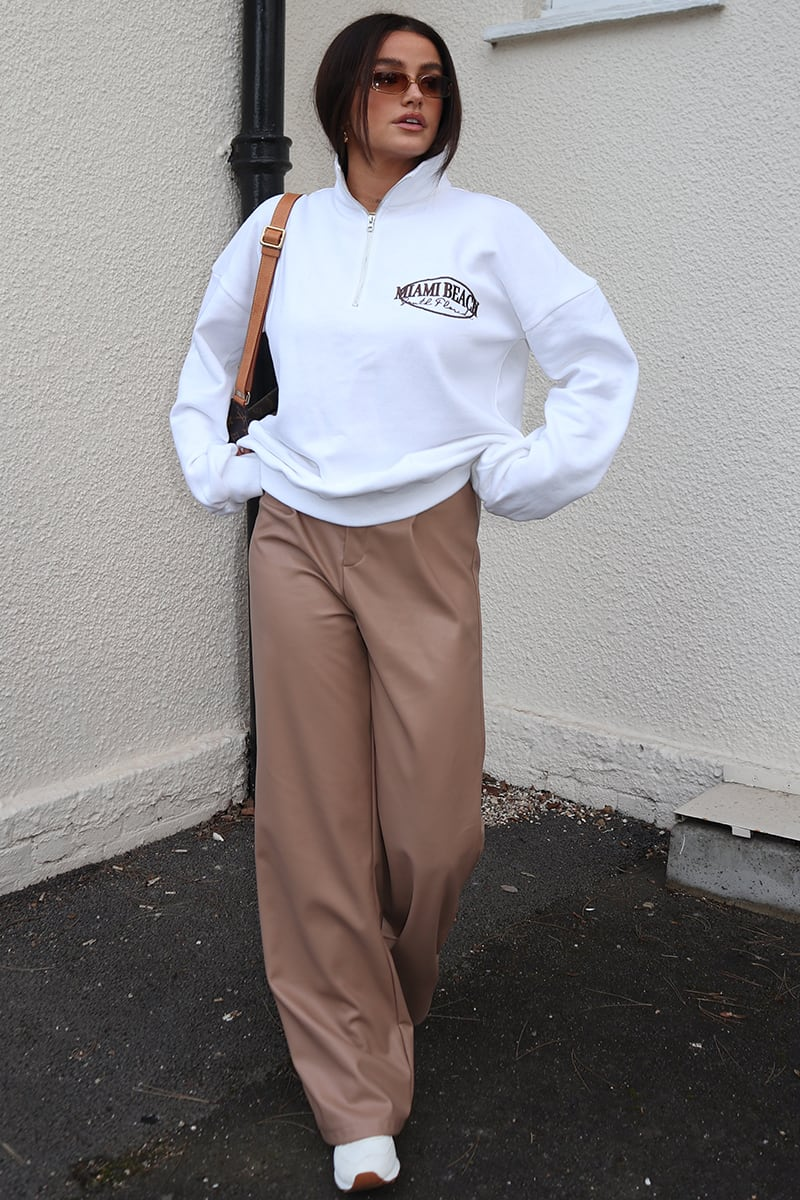 SYD AND ELL STONE PU WIDE LEG TROUSERS
