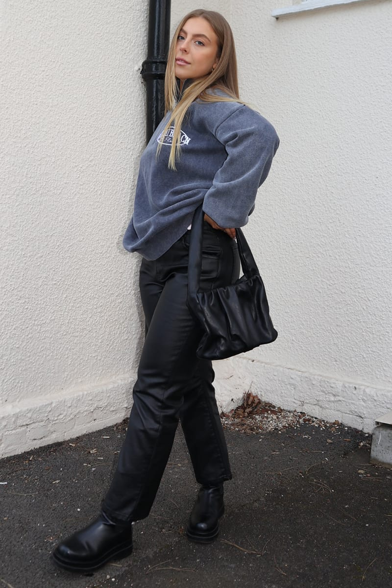 SYD AND ELL BLACK COATED DENIM STRAIGHT LEG JEANS