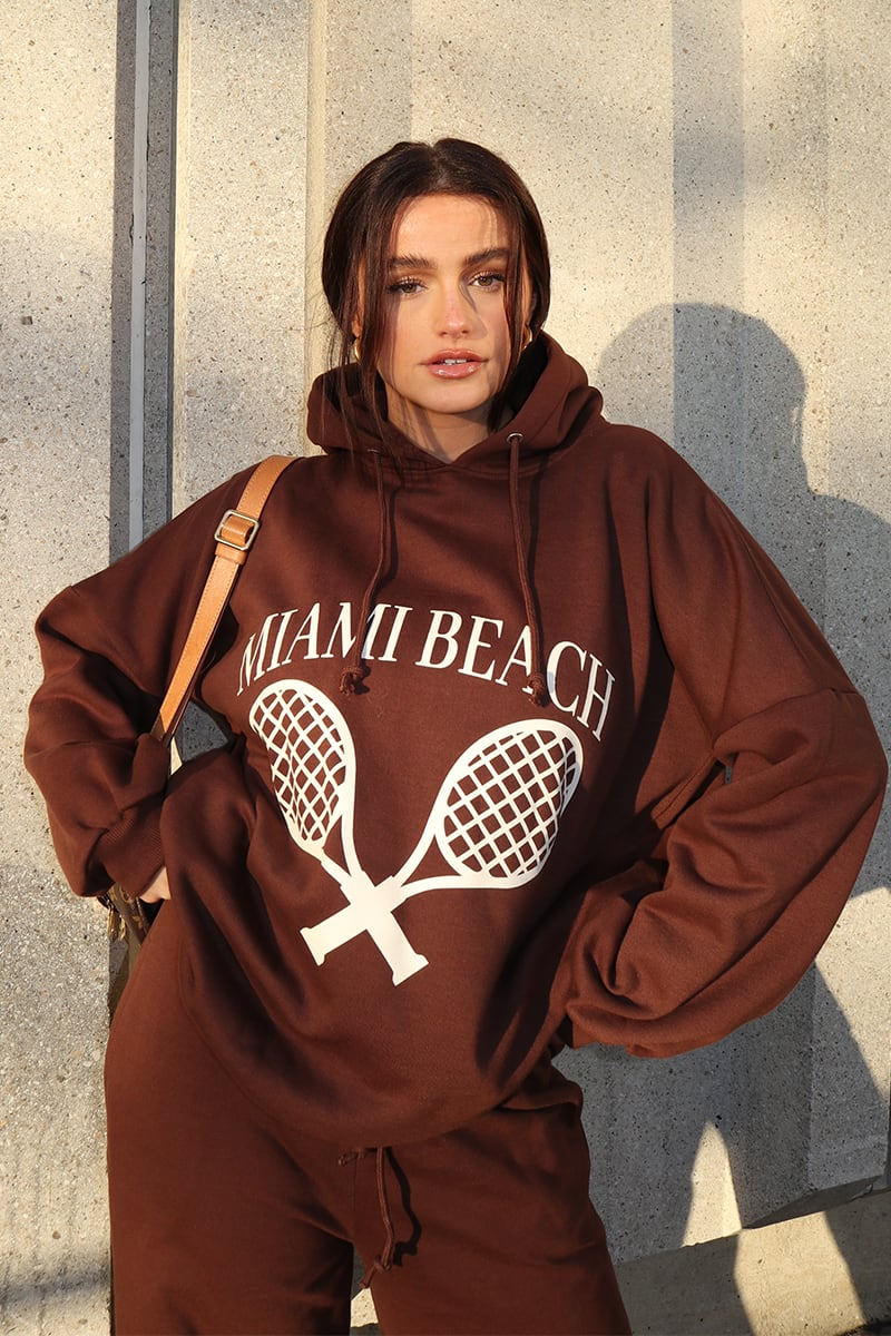 SYD AND ELL BROWN 'MIAMI BEACH' SLOUCHY OVERSIZED HOODIE