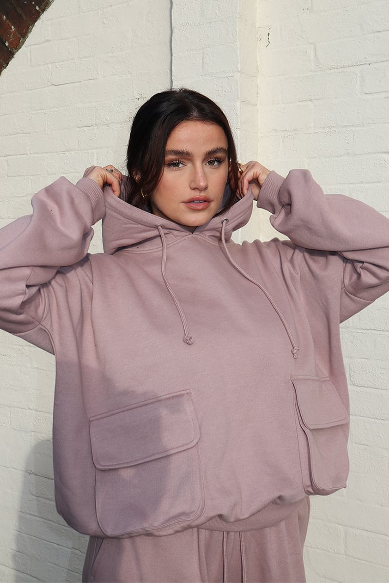 SYD AND ELL ROSE OVERSIZED SLOUCHY HOODIE WITH PATCH POCKETS