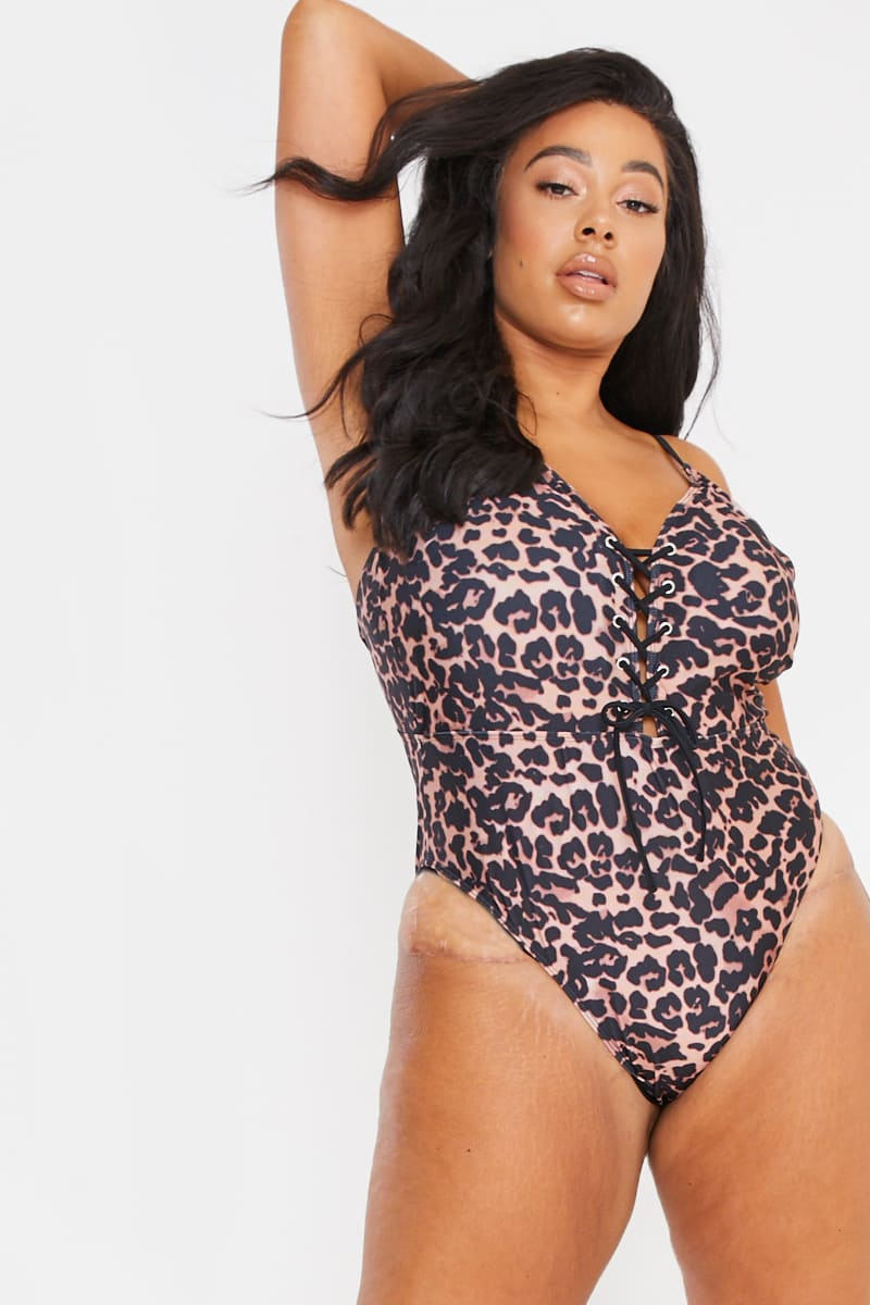 CURVE BILLIE FAIERS BROWN LEOPARD PRINT LACE UP FRONT SWIMSUIT