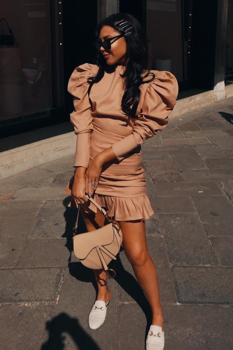LORNA LUXE 'PRACTICALLY PERFECT' STONE MINI DRESS