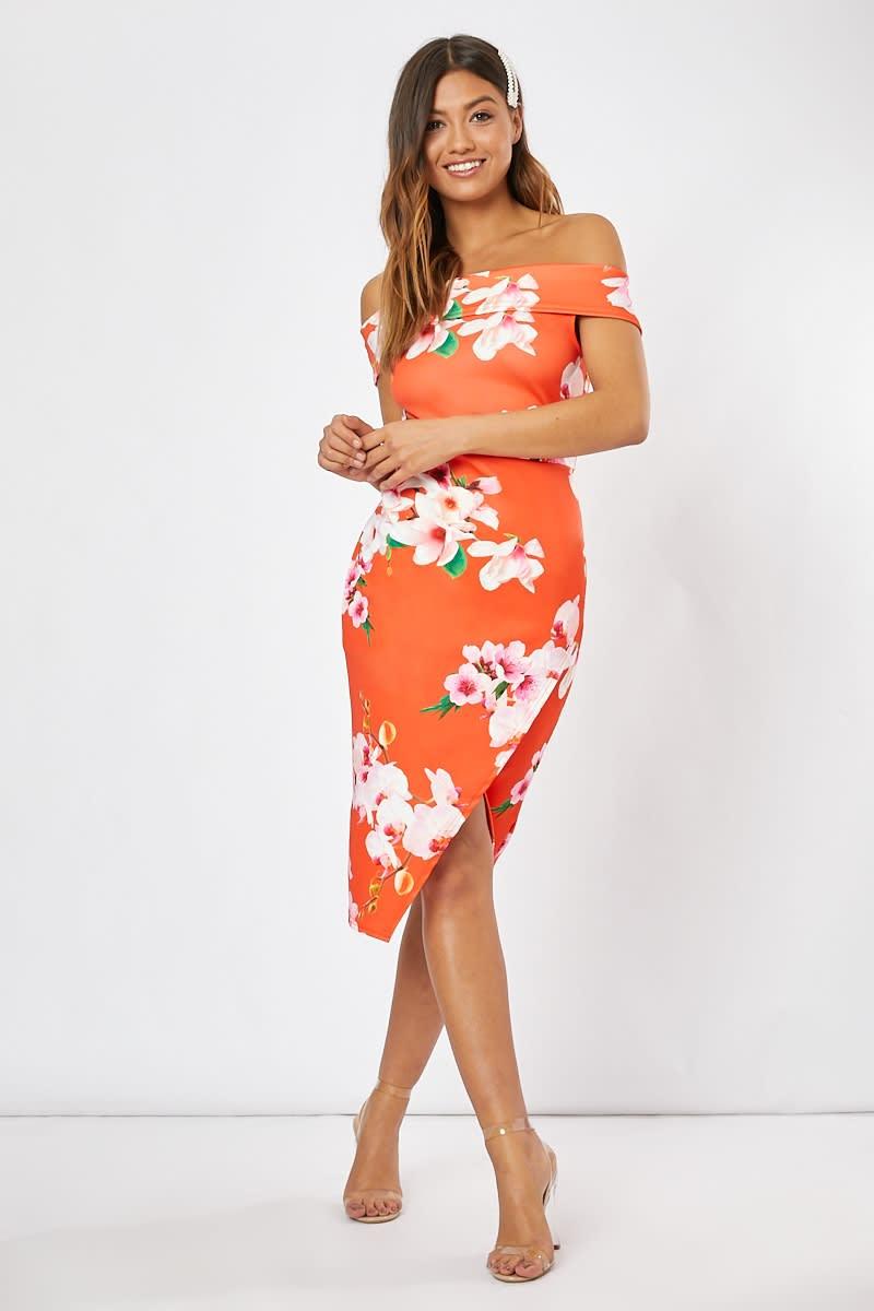 orange floral bardot midi dress