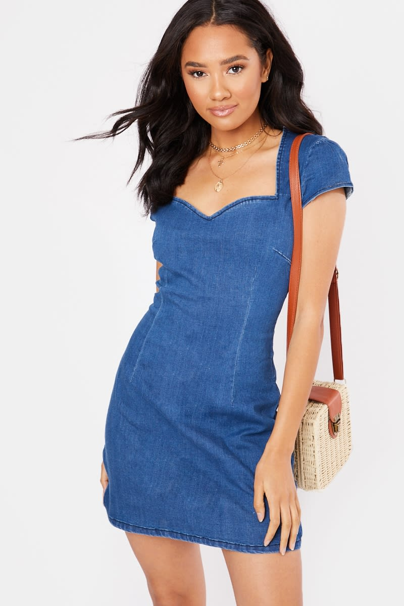 blue short puff sleeve denim mini dress