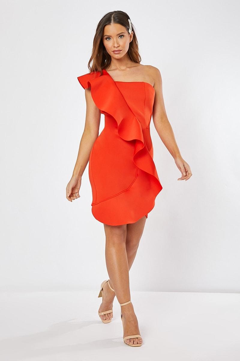 orange one shoulder frill mini dress