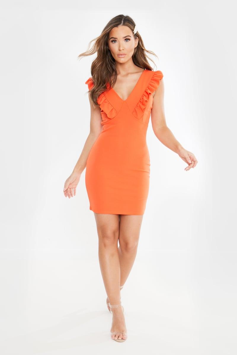 orange frill plunge mini dress