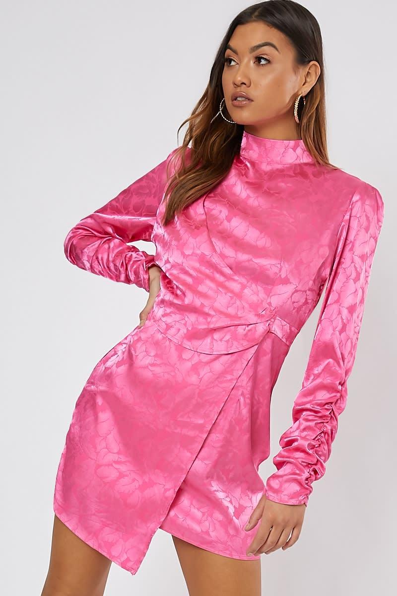 pink jacquard high neck mini dress