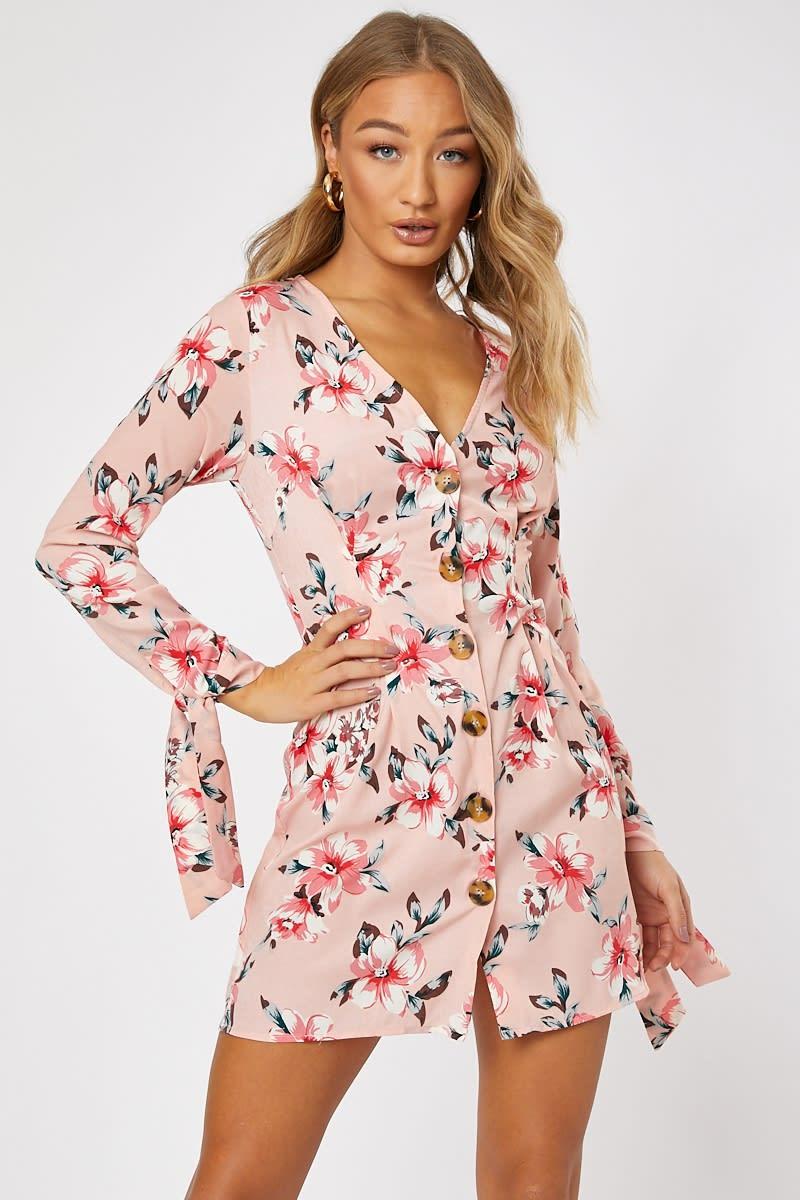 pink satin floral horn button tie sleeve mini dress