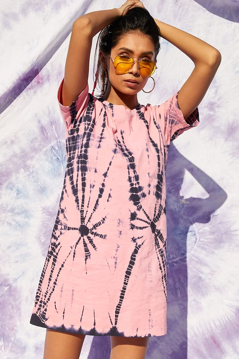 pink tie dye t shirt dress