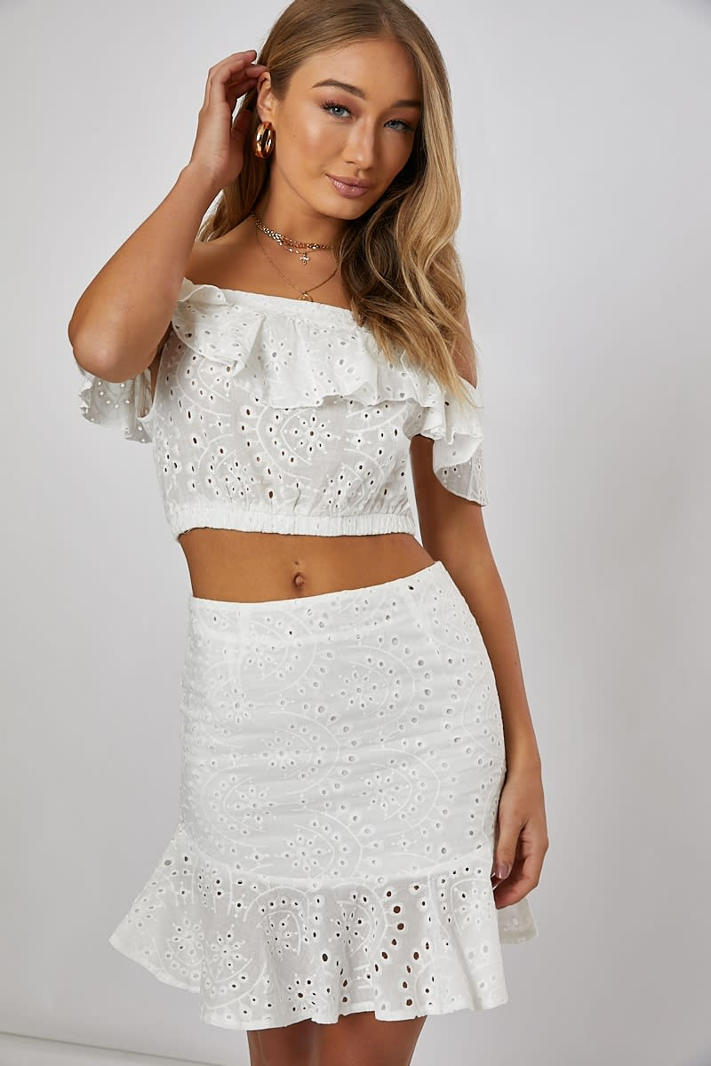 white frill detail bardot co-ord crop top