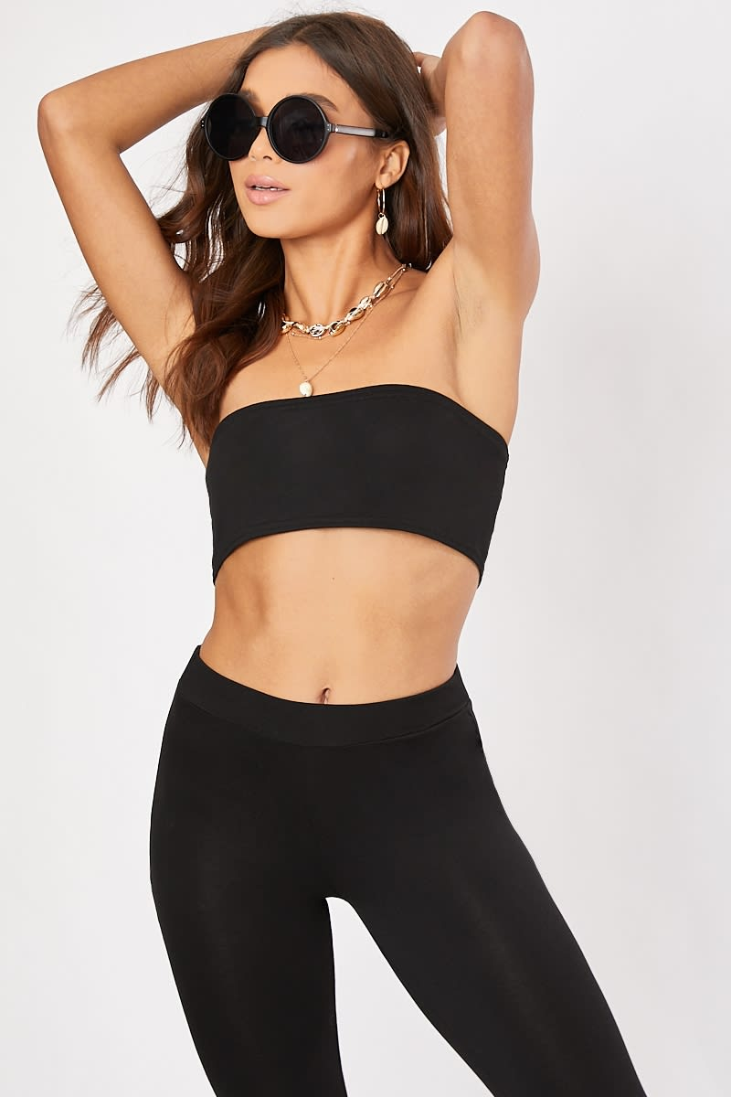 black bandeau co-ord crop top