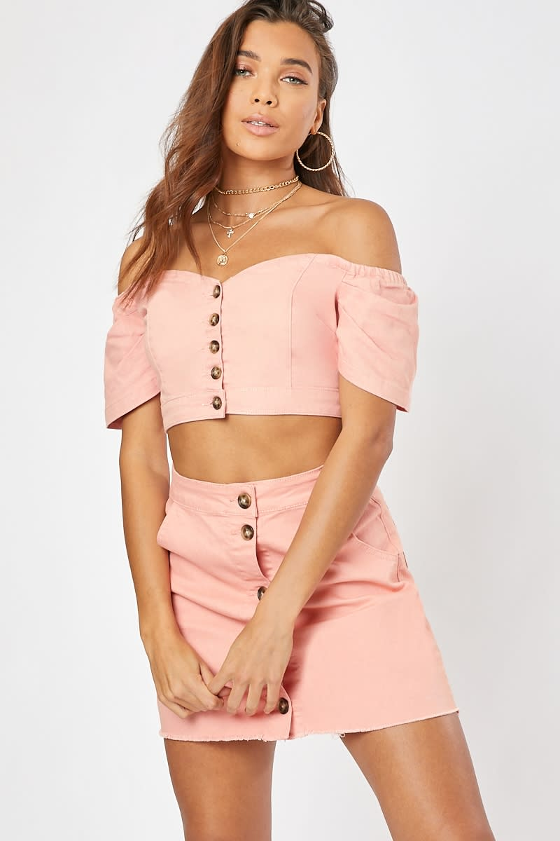 blush button front puff sleeve denim co-ord crop top