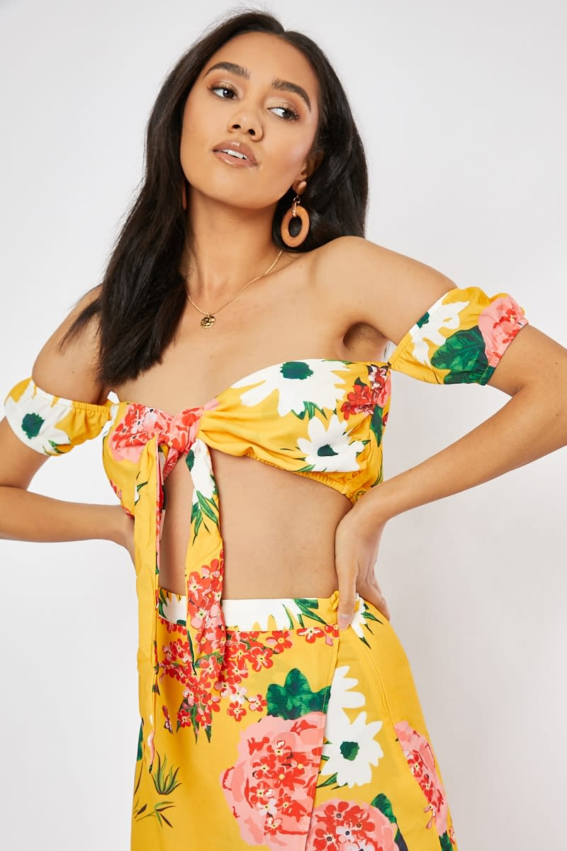 yellow floral tie co-ord bandeau top