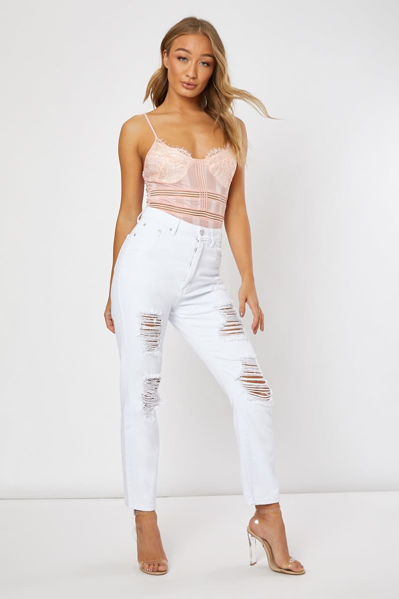 white multi frey ripped jeans