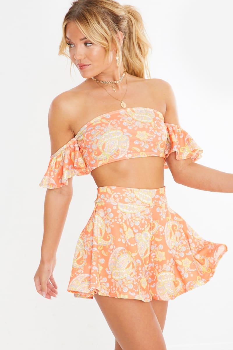 orange pasiley print high waisted co-ord shorts