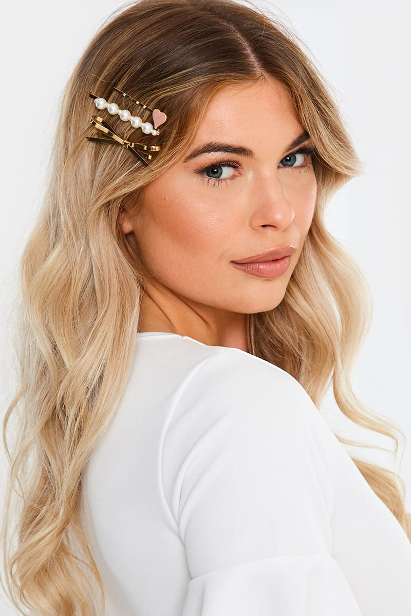 GOLD AND PEARL BOW AND HEART 3 PACK HAIR SLIDES