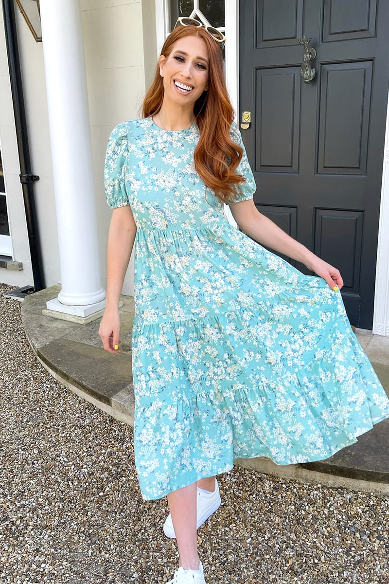 STACEY SOLOMON SAGE DITSY FLORAL SMOCK TIERED MIDI DRESS