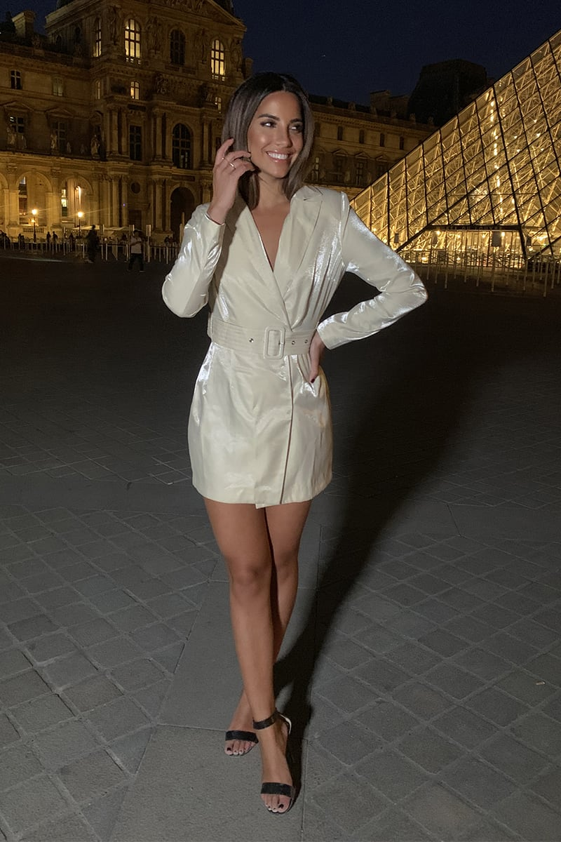 STEPHSA CREAM SHIMMER BLAZER DRESS