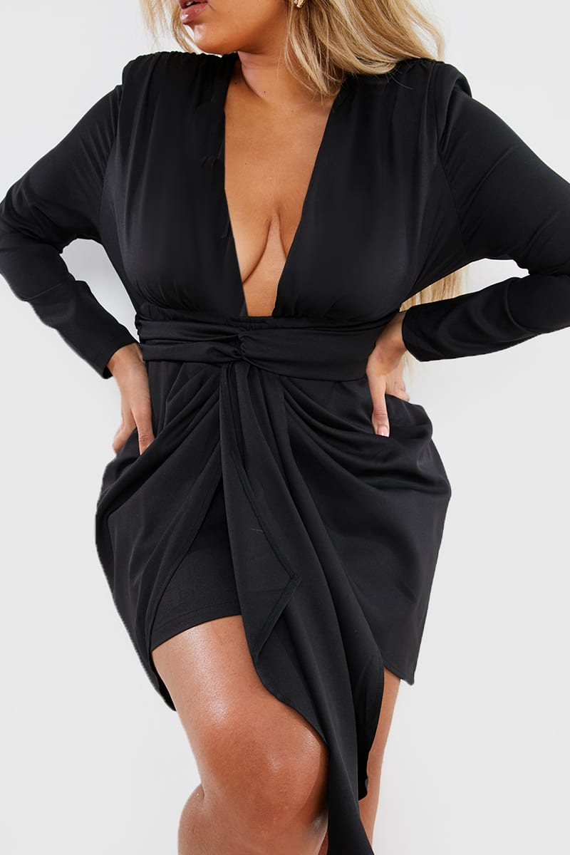 CURVE STEPHSA BLACK DRAPE FRONT MINI DRESS