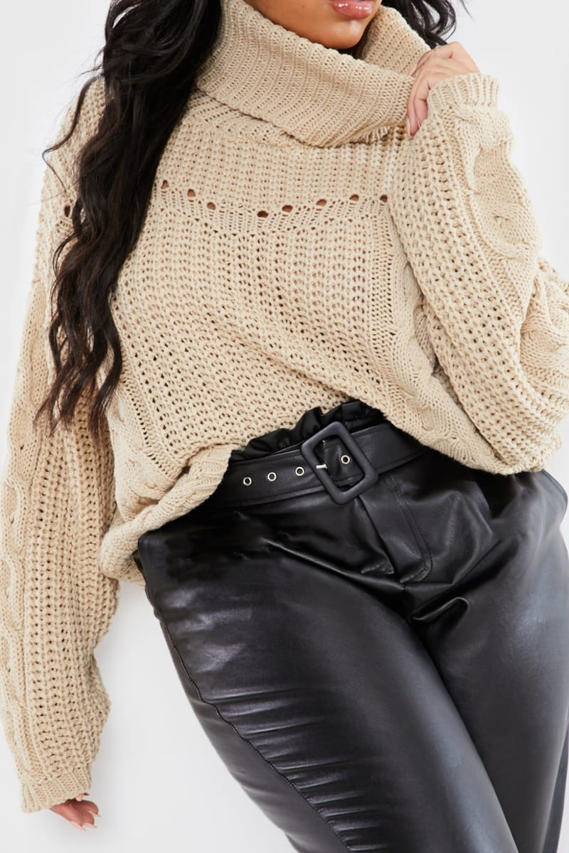 CURVE STEPHSA STONE CHUNKY CONTRAST KNIT JUMPER