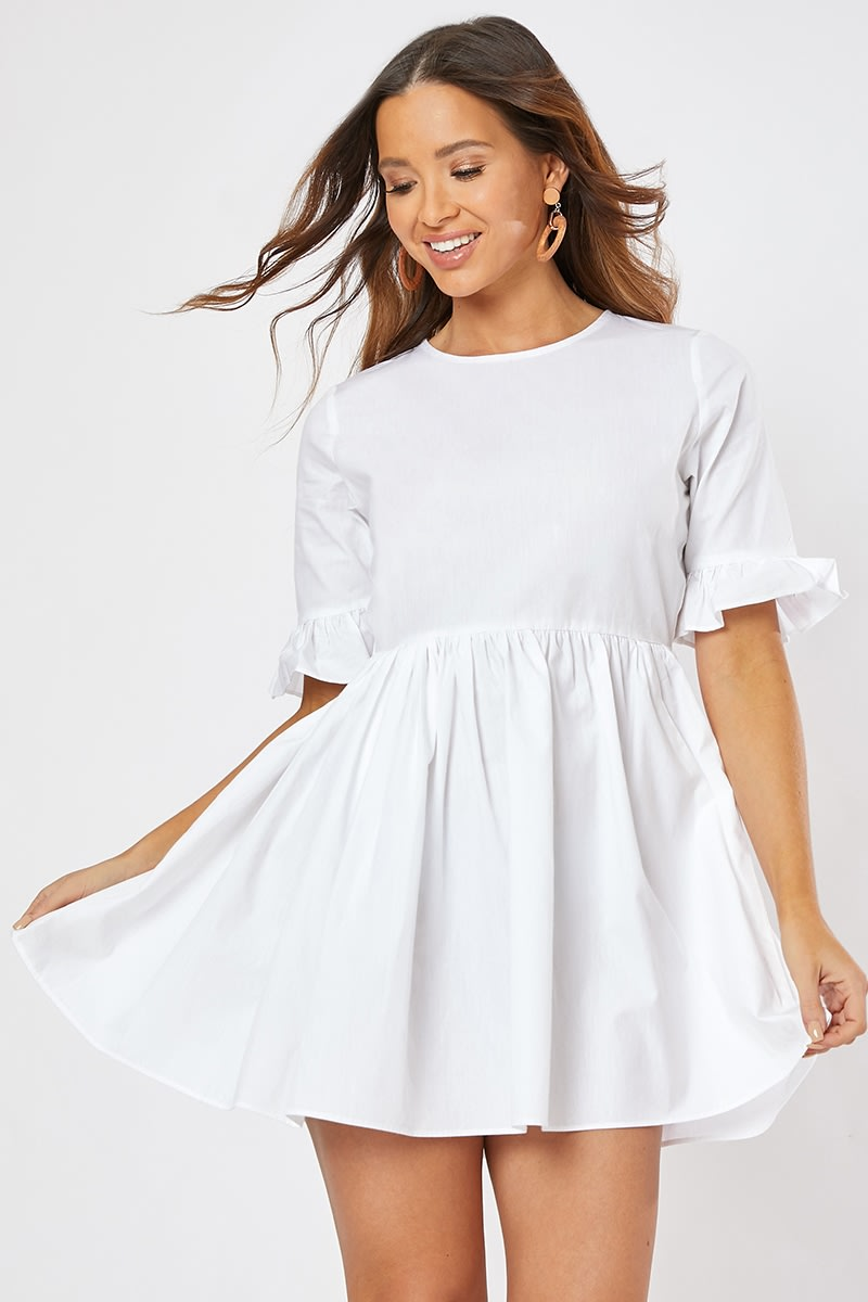 white poplin frill sleeve smock mini dress