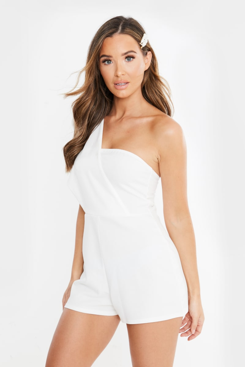 white drape one shoulder playsuit
