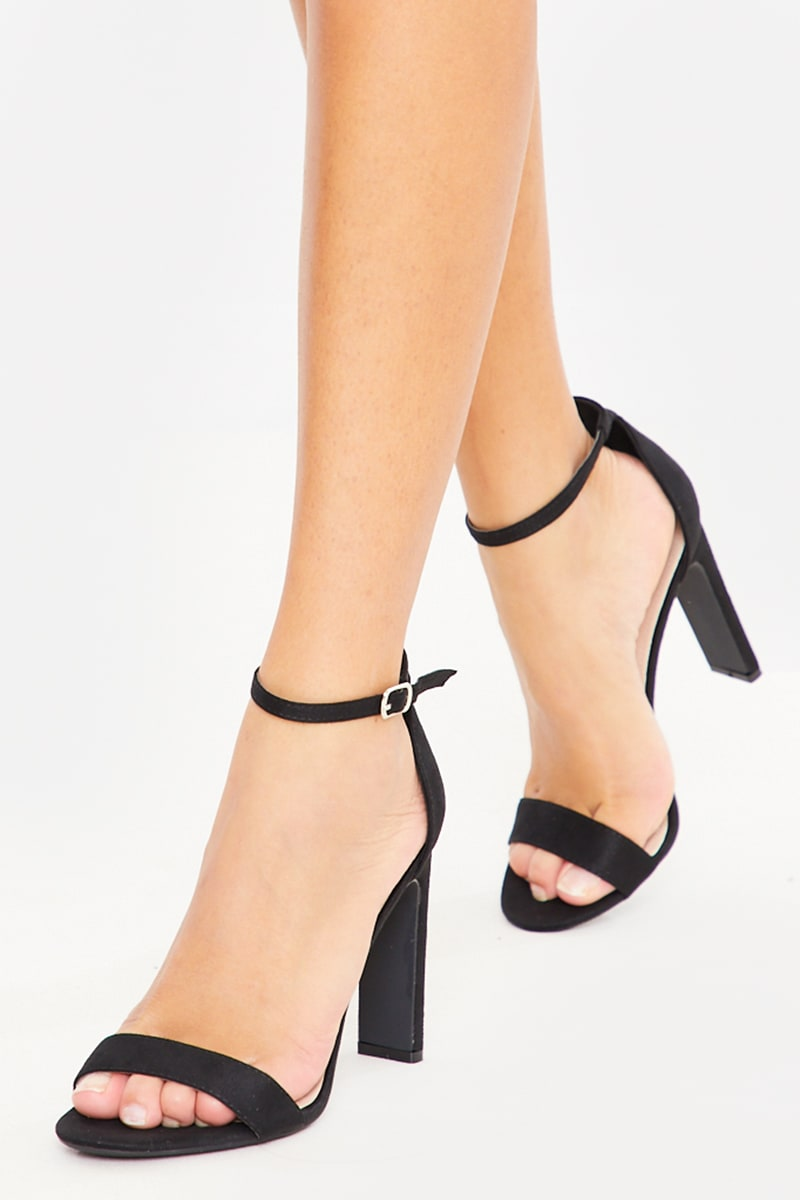 BLACK BARELY THERE CHUNKY HEEL FAUX SUEDE HEELS