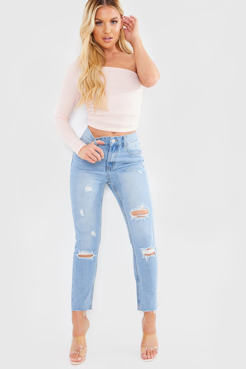 LIGHT WASH RIPPED ANKLE GRAZER MOM JEANS