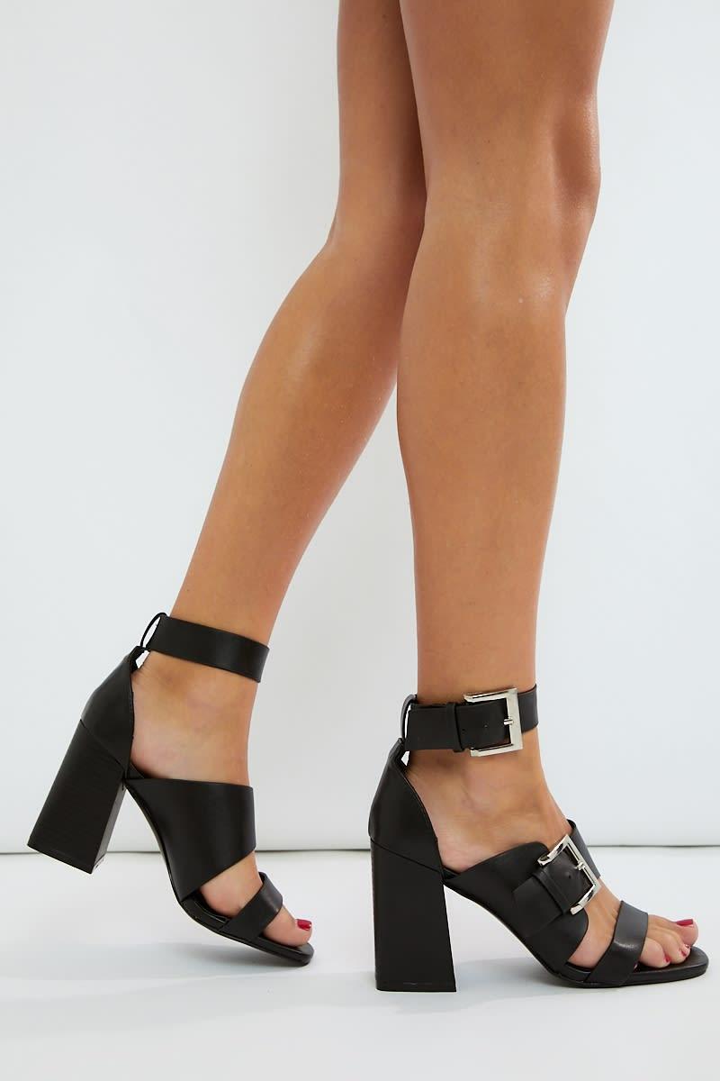 black pu buckle detail heels