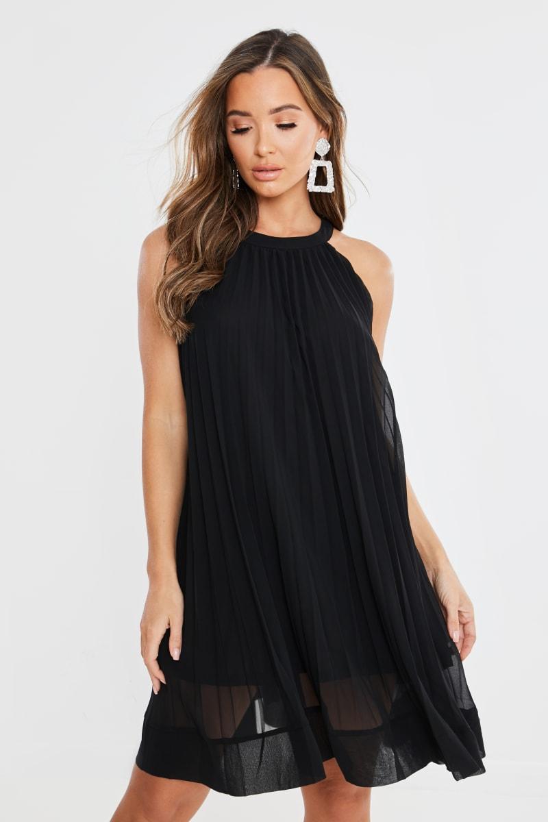 black pleated high neck mini dress