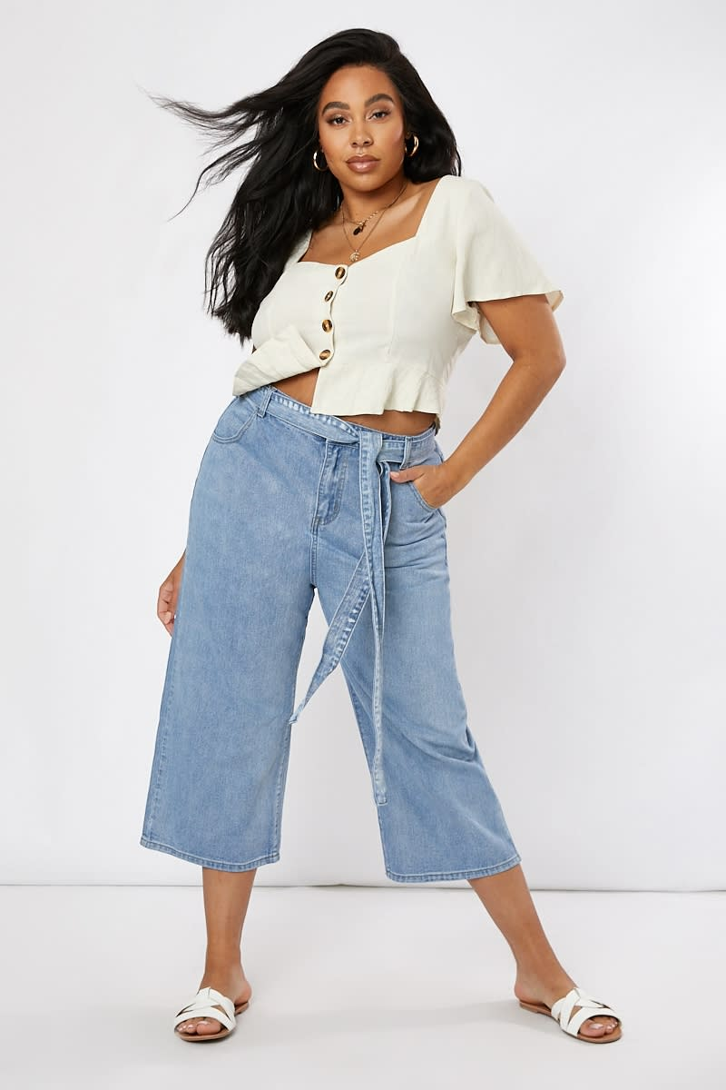 CURVE LAURA JADE BLUE DENIM TIE WAIST CROPPED LEG DENIM JEANS