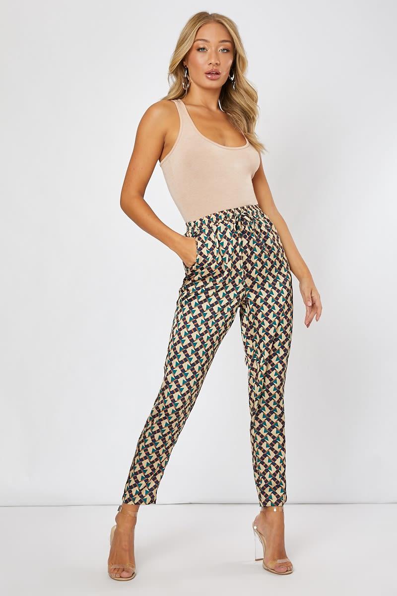 green geo print co-ord trousers