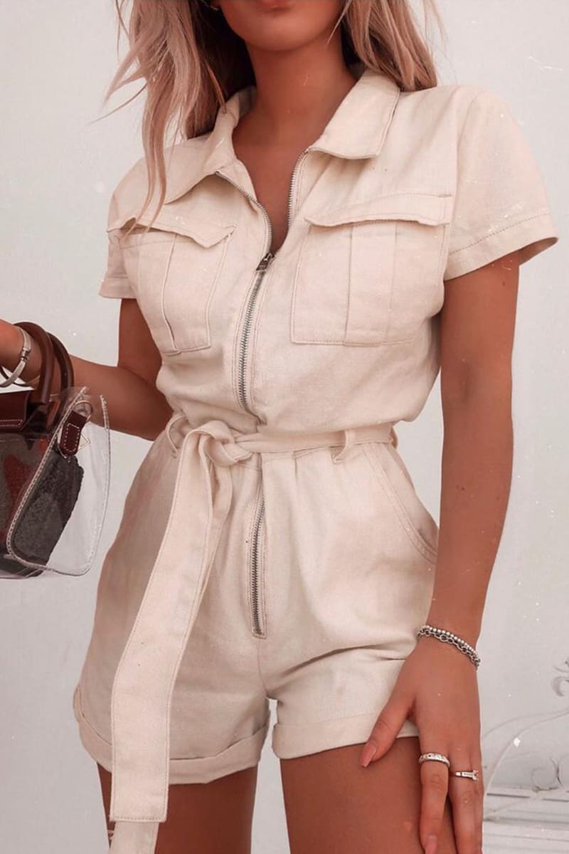 FASHION INFLUX ECRU DENIM SHORT SLEEVED OVERSIZED PLAYSUIT