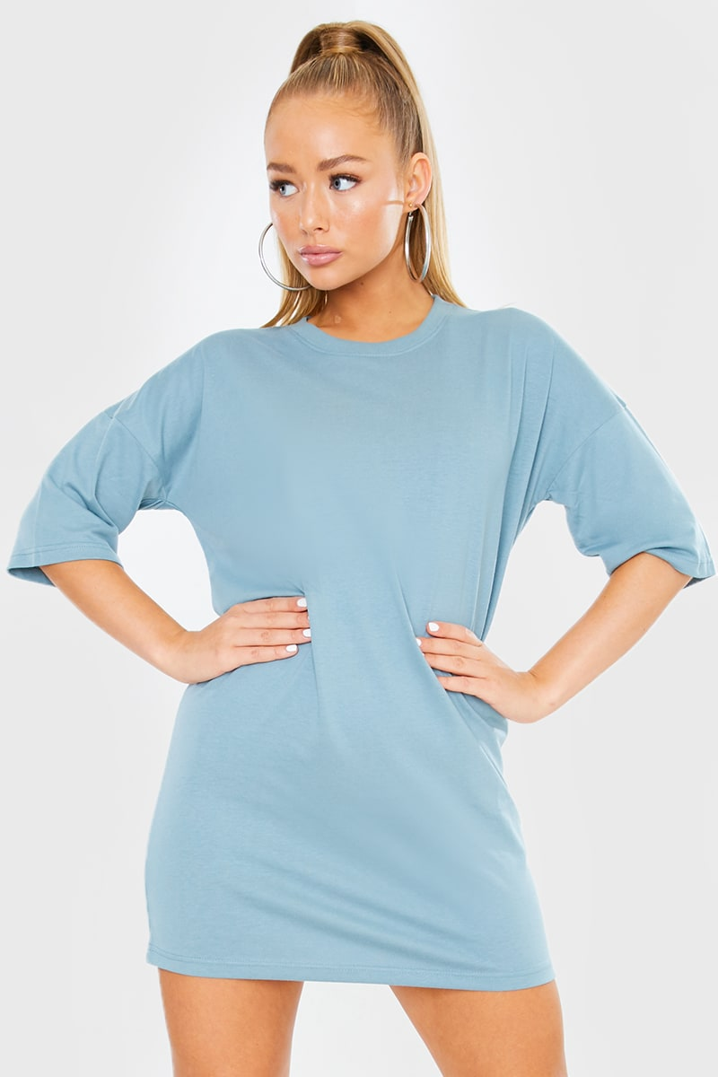 BLUE OVERSIZED SLOUCHY T SHIRT DRESS