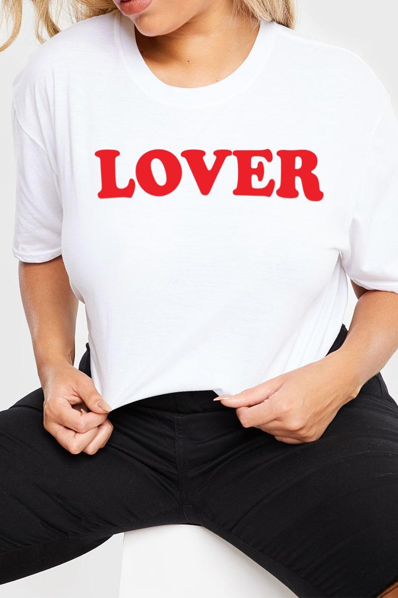 CURVE CHARLOTTE CROSBY WHITE 'LOVER' SLOGAN T SHIRT