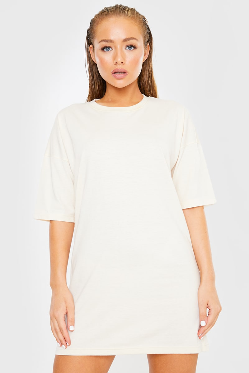ECRU OVERSIZED SLOUCHY T SHIRT DRESS