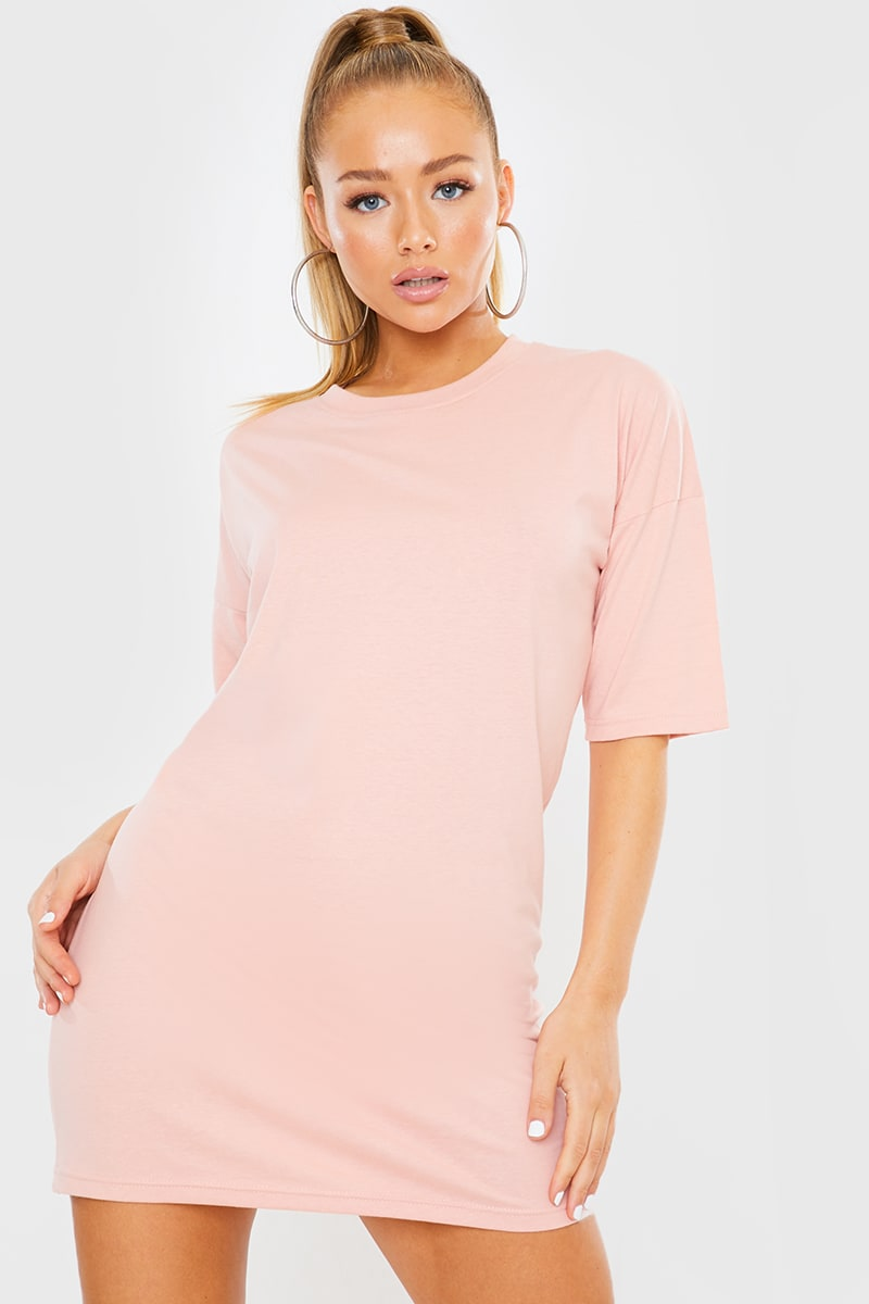 PINK OVERSIZED SLOUCHY T SHIRT DRESS