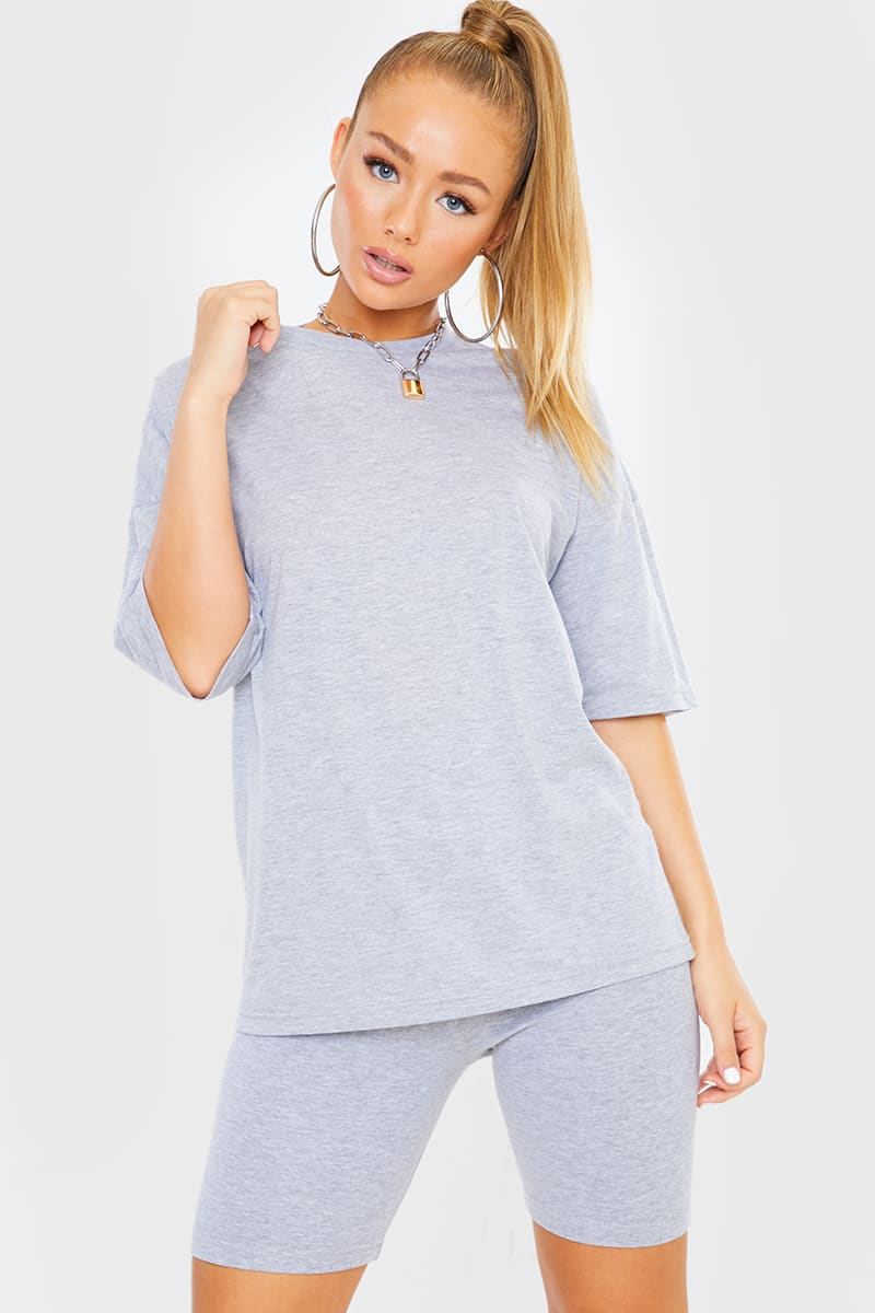 GREY OVERSIZED SLOUCHY T SHIRT
