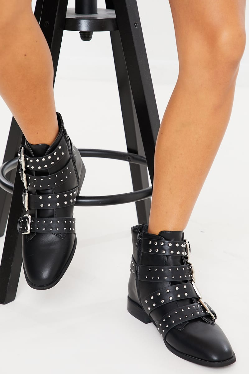 black buckle stud detail flat ankle boots
