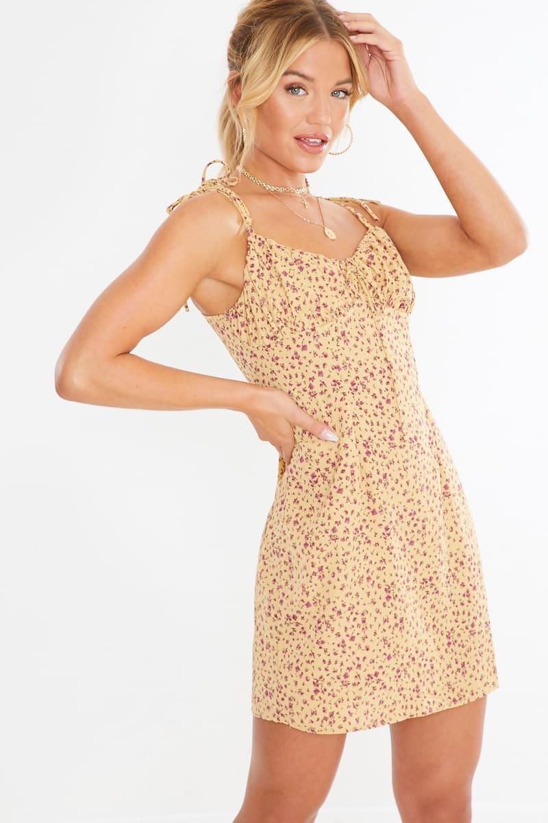 mustard floral tie shoulder mini dress