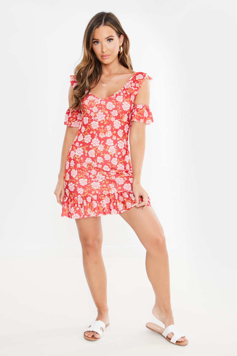 red floral cold shoulder frill mini dress