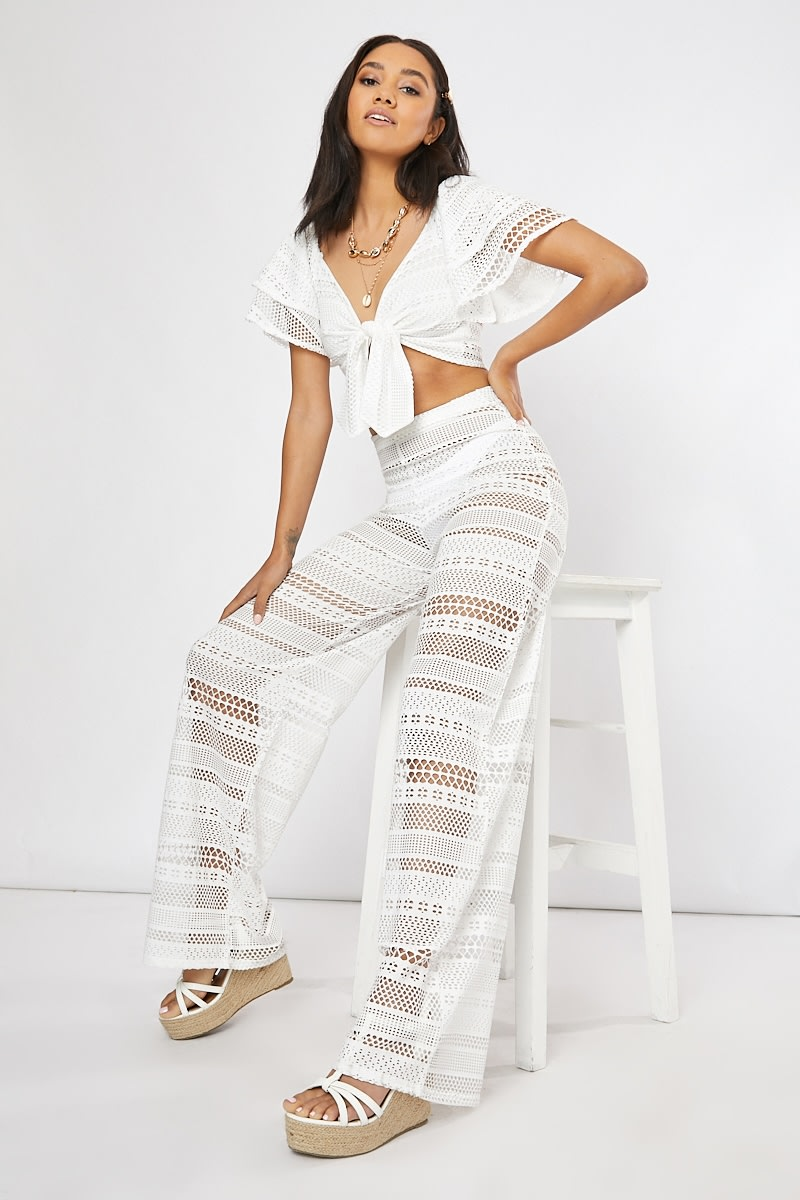 white crochet lace wide leg co-ord trousers