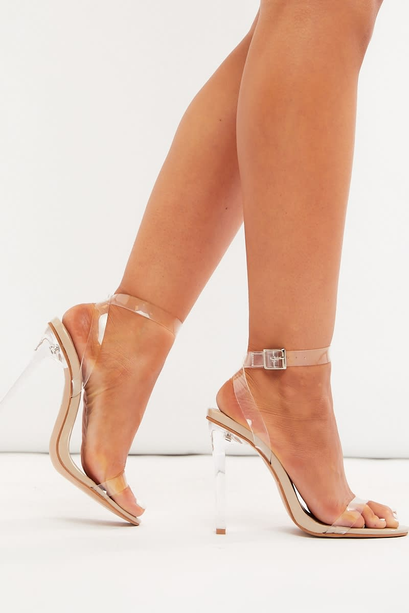nude clear strap heels