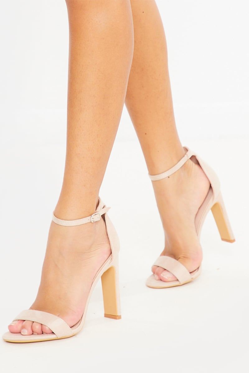 NUDE BARELY THERE CHUNKY HEEL FAUX SUEDE HEELS