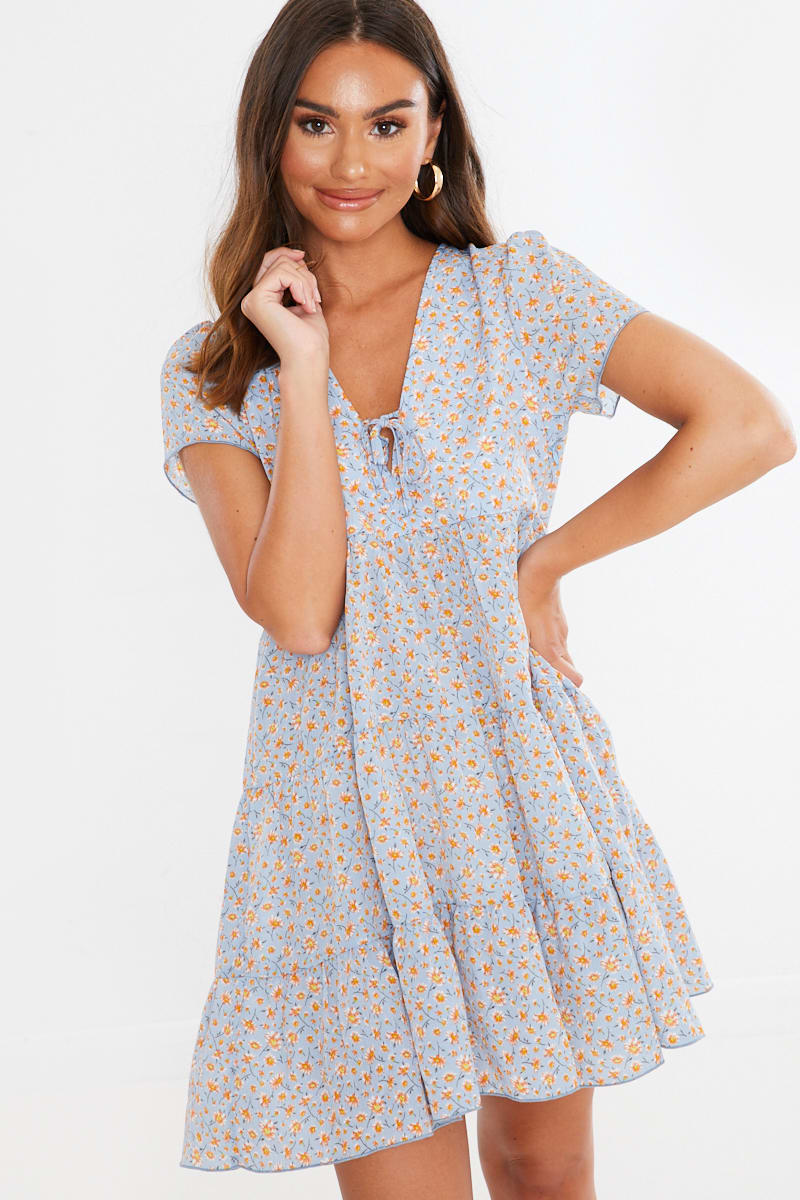 blue ditsy floral print tie front tiered sun dress