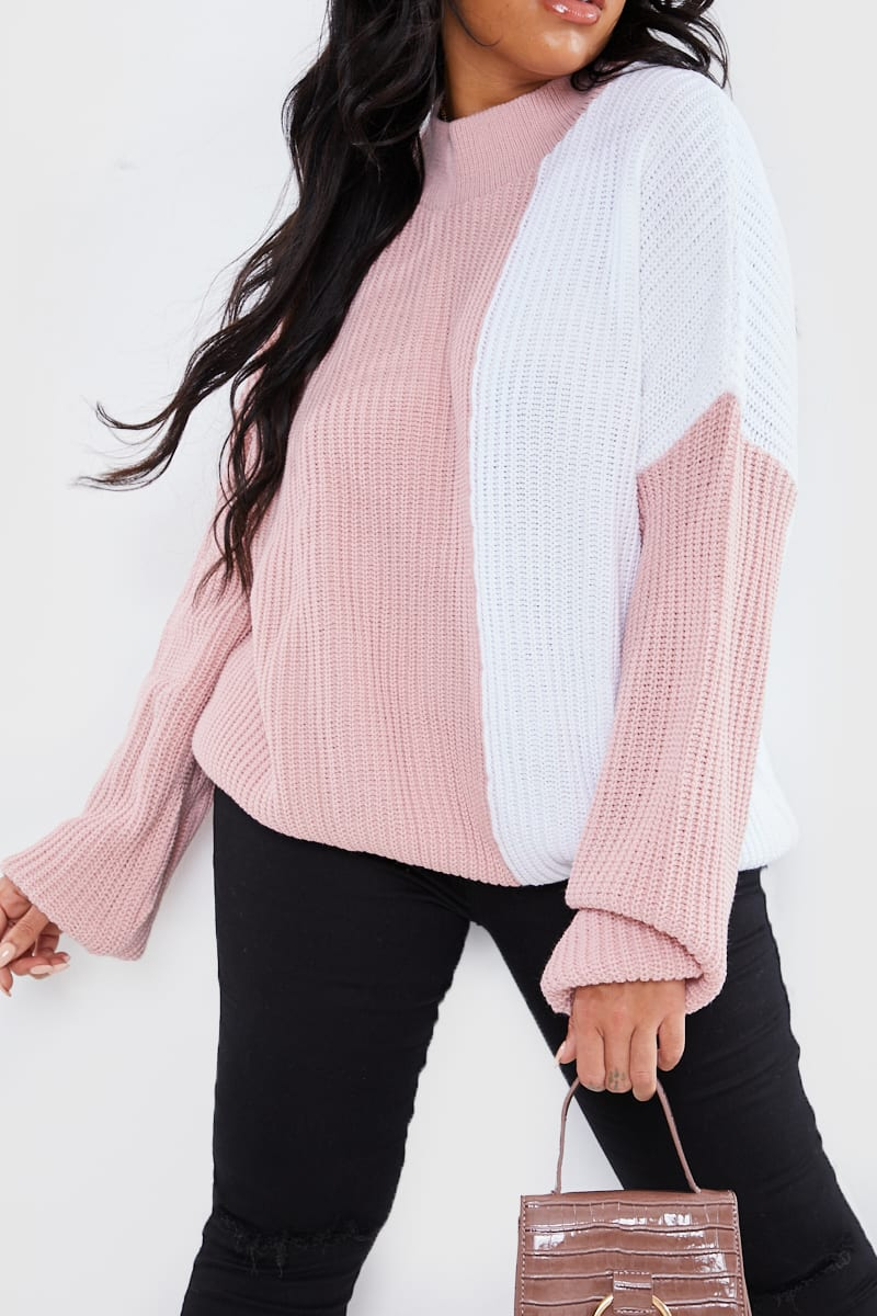 CURVE DANI DYER PINK AND WHITE COLOUR BLOCK KNIT JUMPER